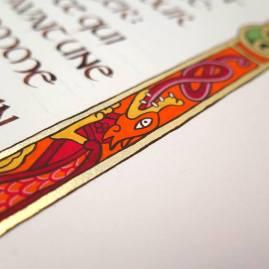 Détail du dragon. Beaucoup de rouge et de orange, ces couleurs rappellent sa fougue.