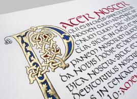 Pater Noster, lettre romane et écriture onciale.