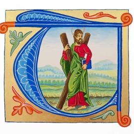 Adaptation du manuscrit St-Andrew avec sa croix. Période gothique.