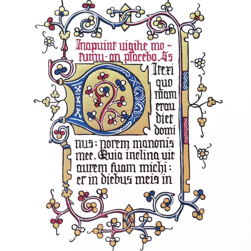Adaptation d'une page du manuscrit Doffinnes Hours. Période gothique.
